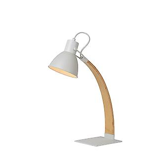 Lucide Desk Lamp Of Timber And White