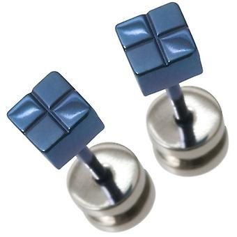 Ti2 Titanium Small Square Checked Stud Earrings - Blue
