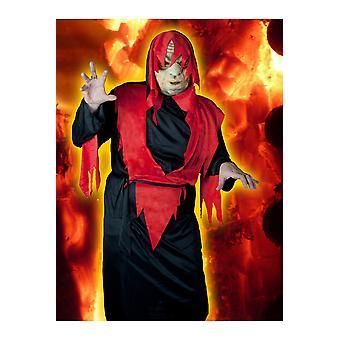 Hommes costumes diable guerrier rouge-noir