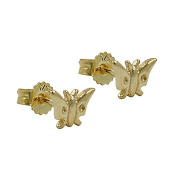 Golden ear plug connector Butterfly earring girl 9 KT gold 375