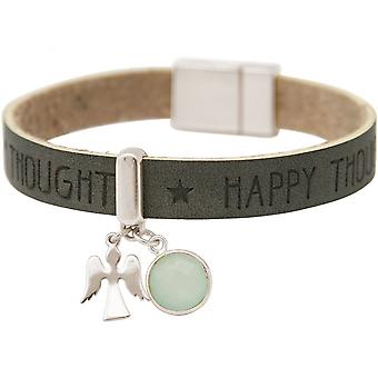 -Bracelet - protection - 925 Silver - WISHES - anthracite - grey - chalcedony - sea green - magnetic closure
