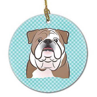 Checkerboard Blue English Bulldog  Ceramic Ornament