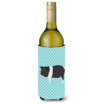 Hampshire Pig Blue Check Wine Bottle Beverge Insulator Hugger