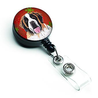 Saint Bernard Red Green Snowflake Christmas Retractable Badge Reel