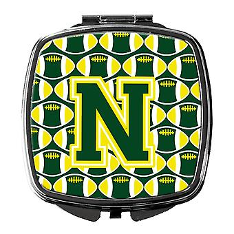 Letter N Football Green and Yellow Compact Mirror