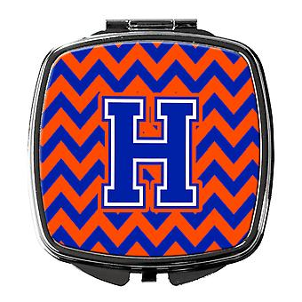 Carolines Treasures  CJ1044-HSCM Letter H Chevron Orange and Blue Compact Mirror