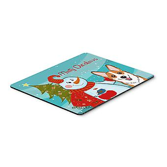 Snowman with Red Corgi Mouse Pad, Hot Pad or Trivet