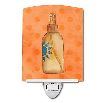 Message in a Bottle Orange Polkadot Ceramic Night Light