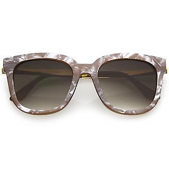 Cerchiati di corno occhiali da sole quadrati moderni marmo stampa lente gradiente Round 53mm