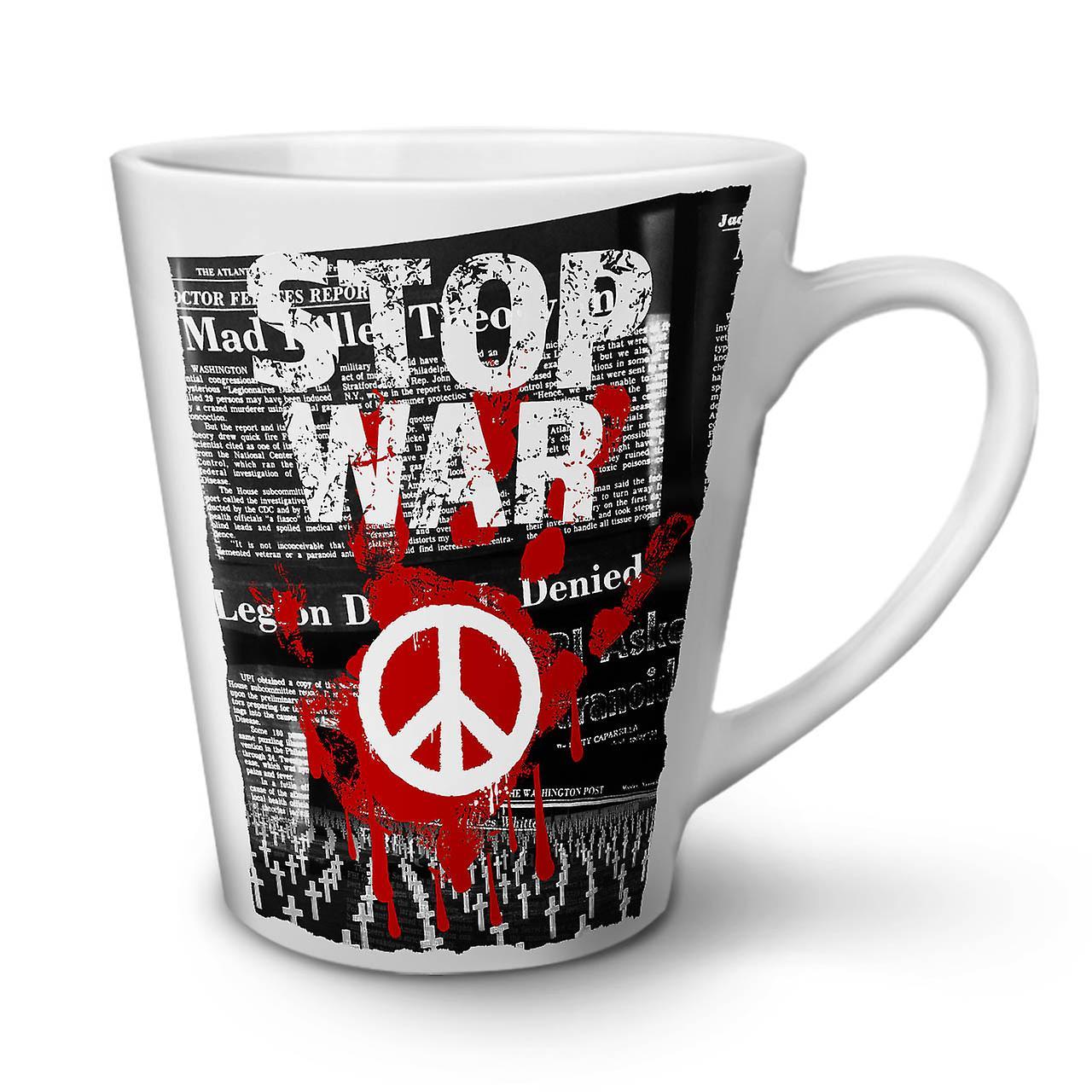 OzWellcoda Latte Paix Blanche Arrêter La Nouvelle Slogan Café Tasse Guerre 12 Céramique En BxdCWroe