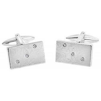 David Van Hagen Rectangle brillant Laser Print Floral Design Crystal Cufflinks - argent/transparent