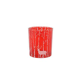CGB Giftware Christmas Red Reindeer Forest Small Tea Light Holder