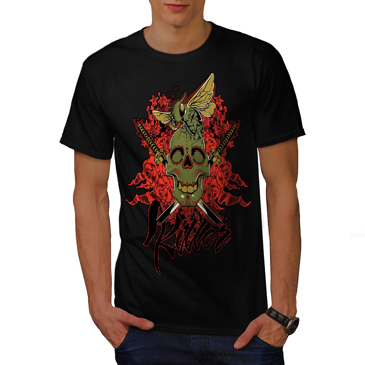 Killer Rose Bug Skull Men Black T-shirt | Wellcoda