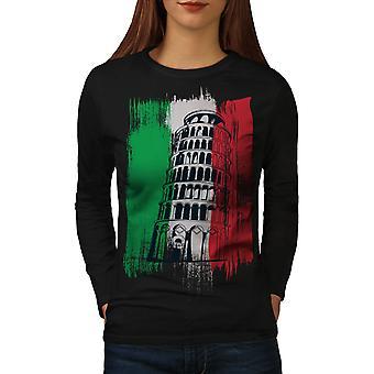 Italien kvinder BlackLong ærmet T-shirt | Wellcoda