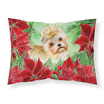 Morkie Poinsettas Fabric Standard Pillowcase