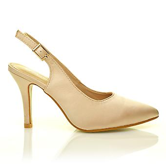 FAITH Champagne Gold Satin Stiletto High Heel Slingback Bridal Court Shoes