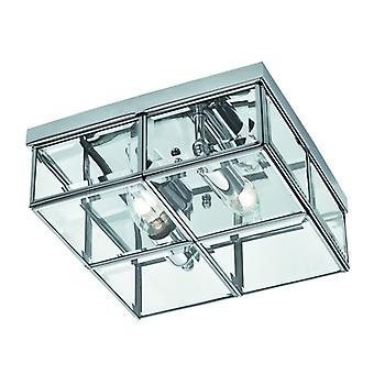 Flush - 2 Light Flush Box, Chrome With Clear Bevelled Glass Panels
