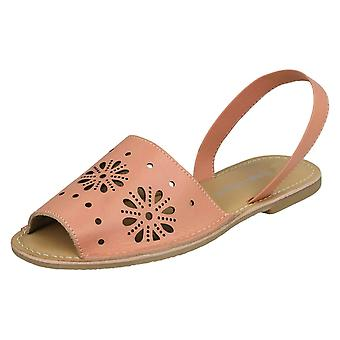 Ladies Leather Collection Flower Design Mules F00144 - Pink Leather - UK Size 7 - EU Size 40 - US Size 9