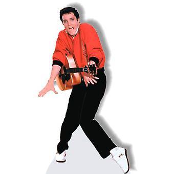 Elvis con el recorte de cartón guitarra y suéter rojo