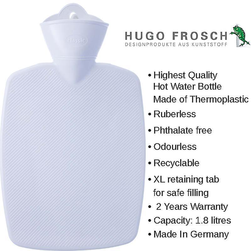 Hugo Frosch Hot Water Bottle In Soft Fleece Cover Red 1.8L
