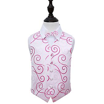 White & Hot Pink Scroll Wedding Waistcoat & Bow Tie Set for Boys