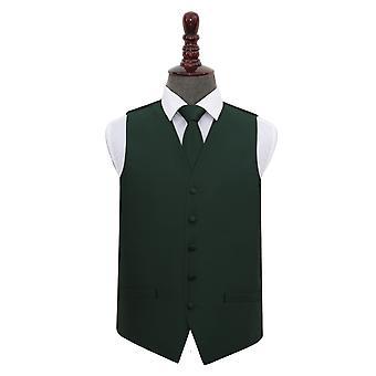 Donker groen effen vinkje bruiloft gilet & stropdas Set