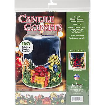 Holiday Garland Candle Corset Counted Cross Stitch Kit-11
