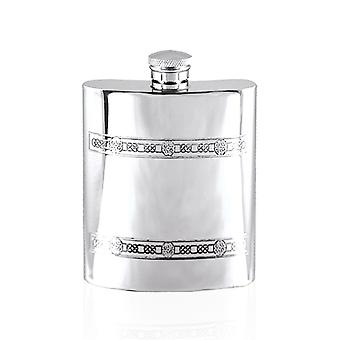 Celtic Twin Band Decorative Pewter Hip Flask - 6oz