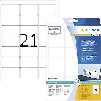 Herma 5074 Labels 63.5 x 38.1 mm Paper White 525 pc(s) Removable All-purpose labels, Address labels Inkjet, Laser, Copie