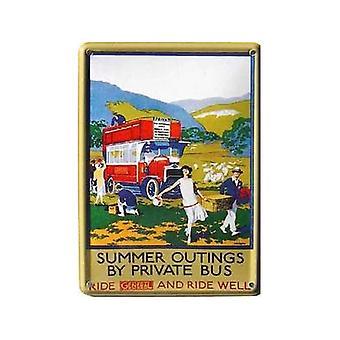 Summer Outings General Bus Advert Miniature Steel Sign