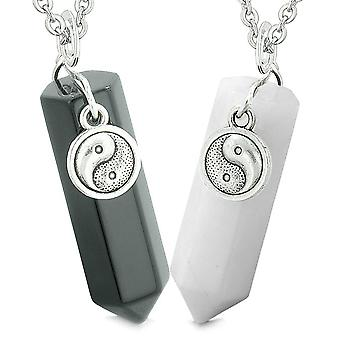Lucky Yin Yang Amulets Love Couples Best Friends Crystal Points Black Agate White Quartz Necklaces