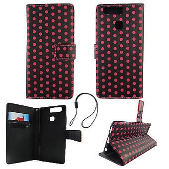 携帯電話モバイルの huawei 社 P9 水玉黒ピンク ポーチ
