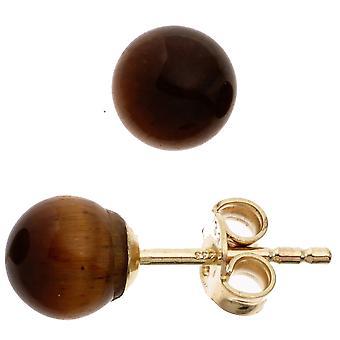 Øredobber perler-formet 333 gull gult gull med 2 Tiger øye ørering gull