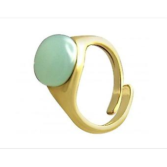 Ladies - ring quartz size adjustable - 10 mm - 925 Silver gold - plated - sea green-