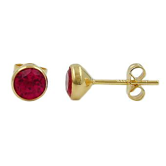 Plug approx. 6mm synthetic Ruby 8Kt GOLD