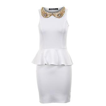 Ladies Peter Pan Spike Studded Paisley Collar Bodycon Peplum Women's Dress