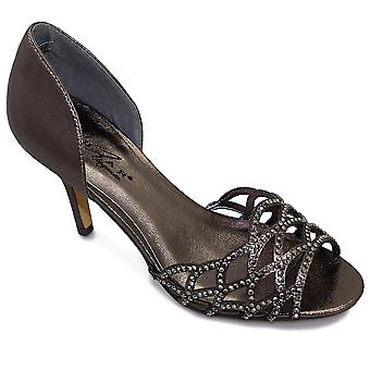 Ladies Diamante Cut Out Shiny Strapless Womens Clutch Bag Mid Heels Shoes