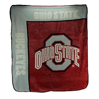 Ohio State University Buckeyes Super Plush Raschel Throw Blanket 60 X 50