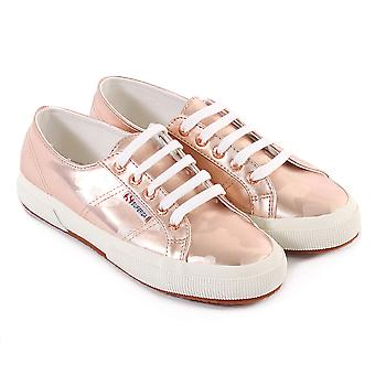 Superga Women's 2750 Armychromw Metallic Lace Up Trainer Rose Gold