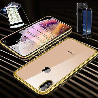 XS MAX 6.5 inch magneet / metaal / glas zakje case voor Apple iPhone gold / transparant + 0,26 mm H9 hard glas