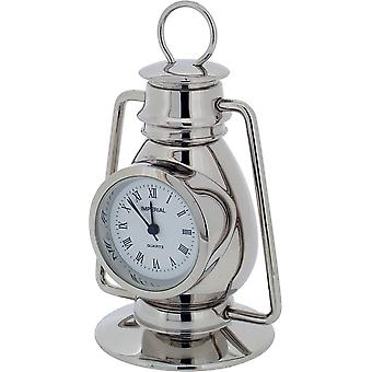 Gift Time Products Hurricane Lamp Miniature Clock - Silver