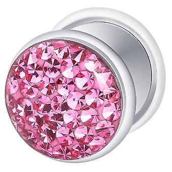 Fałszywe oszust ucha Plug posrebrzane, kolczyki, biżuteria ciała, z różowym Multi Crystal