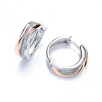 Cavendish French Silver, Rose Gold and Cubic Zirconia Hinged Hoop Earrings