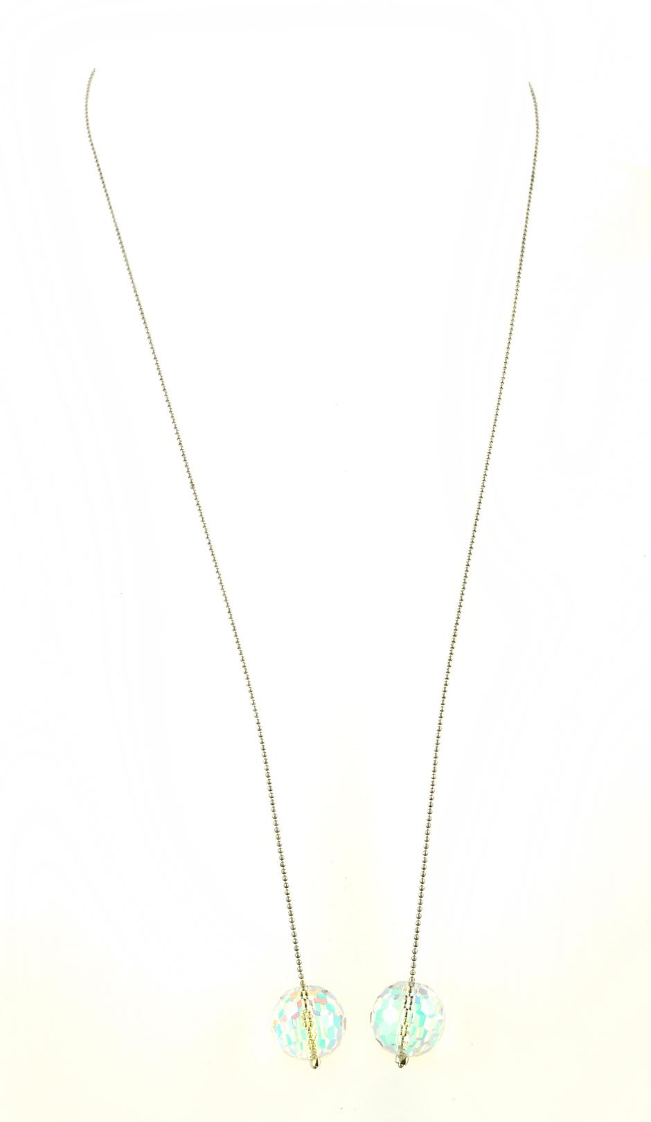 Waooh - jewelry - WJ0312 - necklace along with Pierre Swarovski white transparent - chain silver