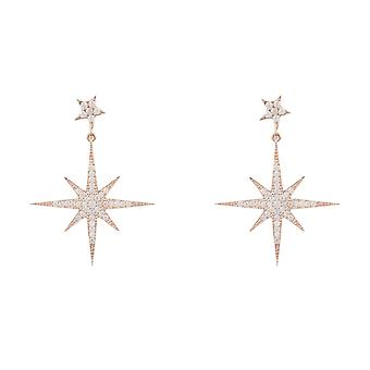 Latelita Earrings Rose Pink Gold Sterling Silver Star Burst Starburst Wedding