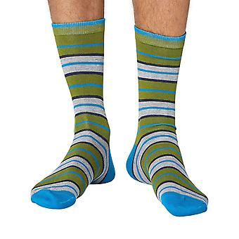 School Stripe men's super-soft bamboo crew socks in green | Thought