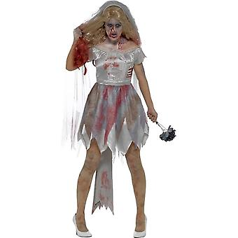 Deluxe Zombie Bride Costume, Grey, with Dress, Attached Latex Rib Wound, Veil & Bouquet