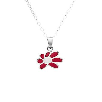 Jo For Girls Sterling Silver Pink & White Flower Pendant Necklace 14