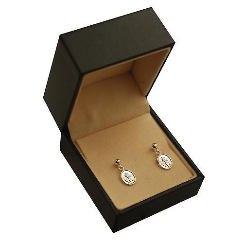 Silver 8x6mm oval St Christopher Dropper Earrings
