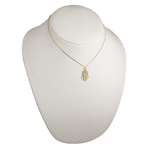 18ct Gold 24x12mm Hand of Fatima Pendant with a curb Chain 16 inches Only Suitable for Children